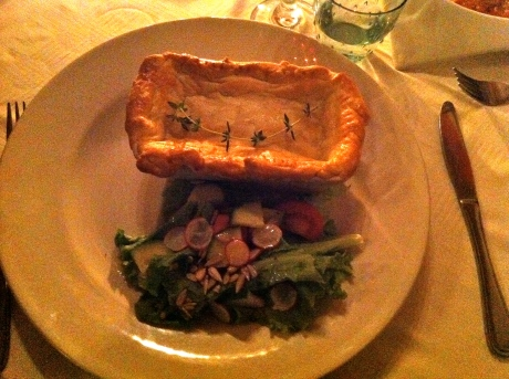 My chicken pie & salad was wonderful