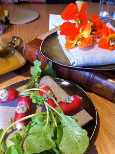 More pre dinner tasters: radish with seaweed butter and stuffed nasturtium flower