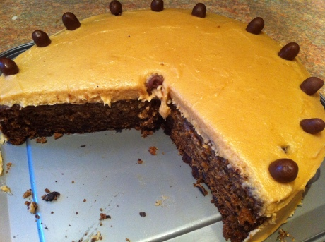 Banana and chocolate chip cake with peanut butter icing