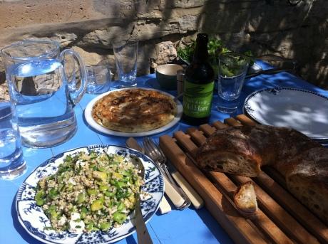 Dappled garden sunlight on our frittata lunch