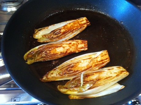 Beautifully caramelised chicory to bring out the sweetness