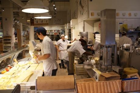 Making fresh pasta in store