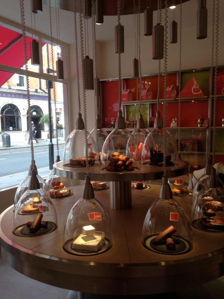 Clever domes of patisserie grace the central table here