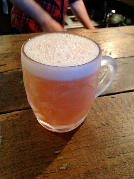 My Hedgerow Shandy: pink grapefruit, tonic, sloe gin and Wyld Wood cider served in a chilled half pint glass. Very refreshing