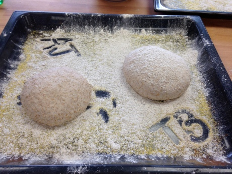 Two hand formed doughs just before being slashed and baked