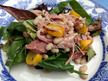 Ham hock, bean, yellow courgette and lovage salad with honey mustard dressing