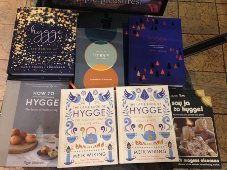 Some of the many books available right not on the Hygge concept